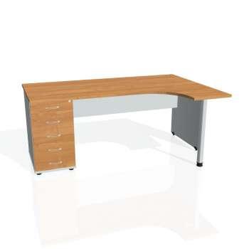 Psací stůl Hobis GATE GEK 1800 levý 25, olše/šedá