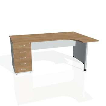 Psací stůl Hobis GATE GEK 1800 levý 25, višeň/šedá