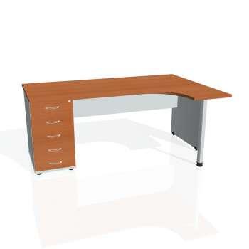 Psací stůl Hobis GATE GEK 1800 levý 25, třešeň/šedá