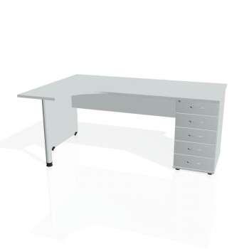 Psací stůl Hobis GATE GEK 1800 pravý 25, šedá/šedá