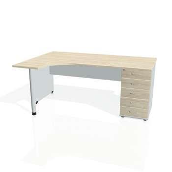 Psací stůl Hobis GATE GEK 1800 pravý 25, akát/šedá