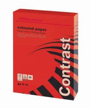 Barevný papír Office Depot Contrast - A4, intenzivní červená, 120 g, 250 listů