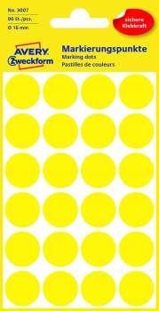 Samolepicí kulaté etikety Avery - žluté, průměr 18 mm, 96 ks
