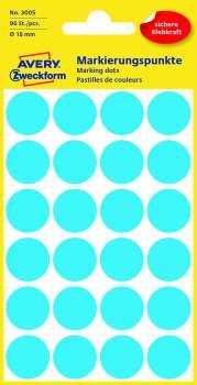 Samolepicí kulaté etikety Avery - modré, průměr 18 mm, 96 ks