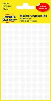 Samolepicí kulaté etikety Avery - bílé, průměr 8 mm, 416 ks