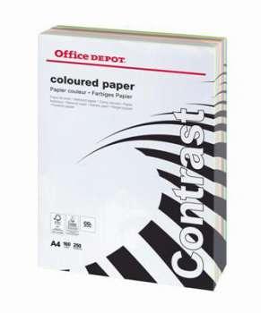 Barevný papír Office Depot Contrast  A4 - mix barev, 160 g/m2, 250 listů