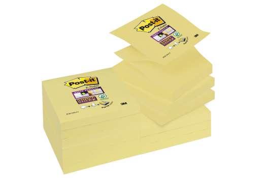 Poznámkové samolepicí Z-bločky Post-it Super Sticky - žluté, 7,6 x 7,6 cm, 12 ks