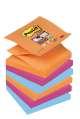 Poznámkové samolepicí Z-bločky Post-it Super Sticky Bangkok - 3 barvy, 7,6 x 7,6 cm, 6 ks