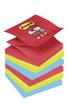 Poznámkové samolepicí Z-bločky Post-it Super Sticky  Bora Bora - 3 barvy, 7,6 x 7,6 cm, 6 ks