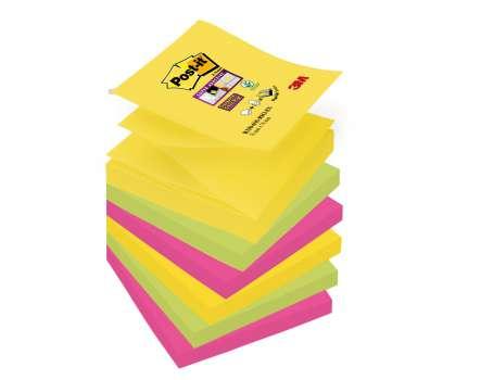 Poznámkové samolepicí Z-bločky Post-it Super Sticky Rio - 7,6 x 7, 6 cm, 5 barev, 6 x 90 ks