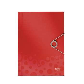 BEBOP Desky s chlopněmi a gumičkou A4, červená