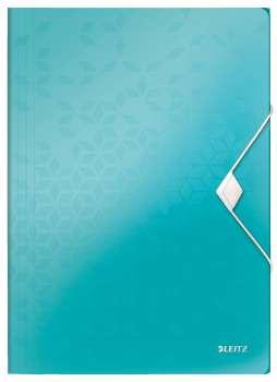 Desky na dokumenty s chlopněmi a gumičkou LEITZ WOW - A4, plastové, ledově modré