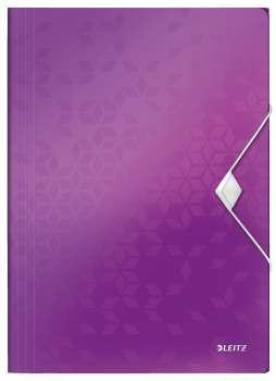 Desky na dokumenty s chlopněmi a gumičkou LEITZ WOW - A4, plastové, purpurová