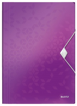 Desky na dokumenty s chlopněmi a gumičkou LEITZ WOW - A4, plastové, purpurové
