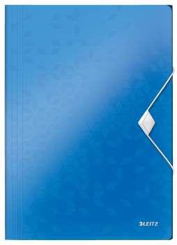 Desky na dokumenty s chlopněmi a gumičkou LEITZ WOW - A4, plastové, metalicky modrá
