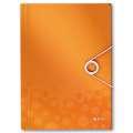 Desky na dokumenty s chlopněmi a gumičkou LEITZ WOW - A4, plastové, metalicky oranžové