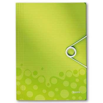 Desky na dokumenty s chlopněmi a gumičkou LEITZ WOW - A4, plastové, metalicky zelená