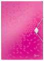 Desky na dokumenty s chlopněmi a gumičkou LEITZ WOW - A4, plastové, metalicky růžová
