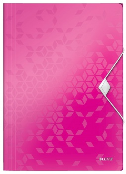 Desky na dokumenty s chlopněmi a gumičkou LEITZ WOW - A4, plastové, metalicky růžové