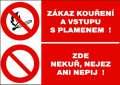 Zákazová tabulka Zákaz vstupu s plamenem! - plastová