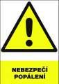 Výstražná tabulka Nebezpečí popálení - plastová