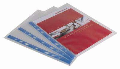 """Prospektové """"U"""" obaly Office Depot - A5, 80 mikronů, krupičkové, modrá  hřbet, 25 ks"""