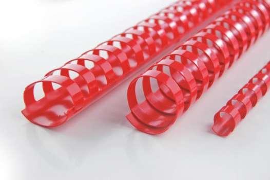 Hřbety plastové GBC 16 mm, červené, 100 ks