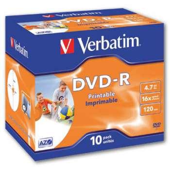 Disky DVD-R Verbatim Printable - potisknutelné, standard box, 10 ks