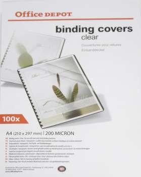 Fólie pro kroužkovou vazbu Office Depot - A4, 200 mikronů, čirá, 100 ks