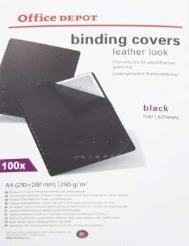 Kartony pro kroužkovou vazbu Office Depot - A4, černé, imitace kůže, 250 g, 100 ks