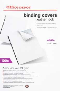 Kartony pro kroužkovou vazbu Office Depot - A4, bílé, imitace kůže, 250 g, 100 ks