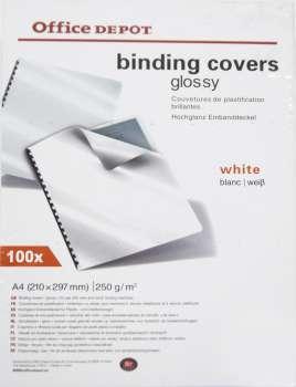 Kartony pro kroužkovou vazbu Office Depot - A4, bílé, leštěné, 250 g, 100 ks