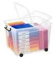 Plastový box  Strata - s kolečky, transparentní, 75 l