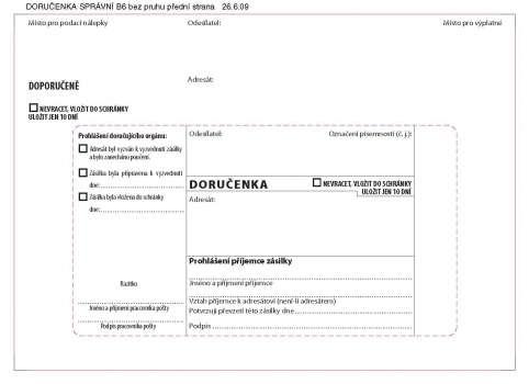 Obálky B6 - Doručenka pro správní řízení, bílá, 1000 ks