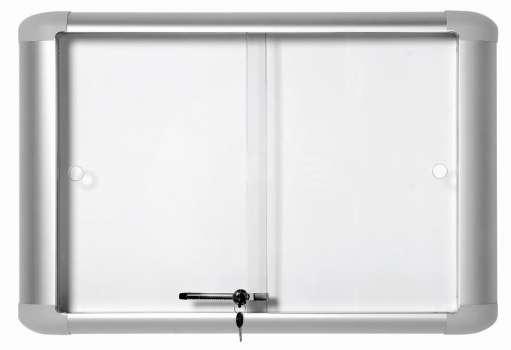 Interiérová vitrína Office Depot - 12 x A4, s magnetickou tabulí, s posuvnými dvířky