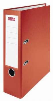 Pákový pořadač Office Depot - A4, s kapsou, kartonový, hřbet 8 cm, červená