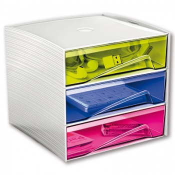 Zásuvkový box CEP My Cube - plastový, 3 zásuvky, barevný