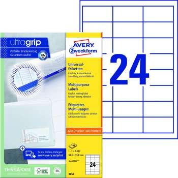 Samolepicí etikety Avery - 64,6 x 33,8 mm, 2400 etiket