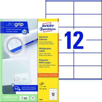 Samolepicí etikety Avery - 105,0 x 48,0 mm, 1200 etiket