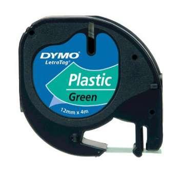 Páska Dymo LetraTag - zelená, šířka 12 mm, návin 4 m, černé písmo (plastová)