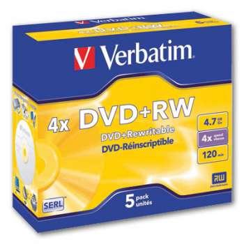 Disky DVD+RW Verbatim - přepisovatelné, standard box, 5 ks