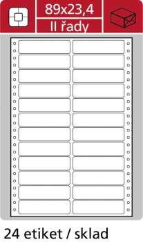 Samolepicí tabelační etikety SK Label - dvouřadé, 89,0 x 23,4 mm, 12 000 ks