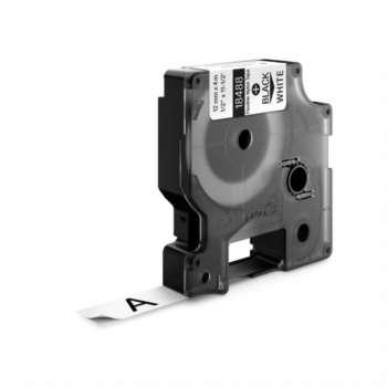 Páska Dymo Rhino - bílá, šířka 12 mm, návin 3,5 m, černé písmo (nylonová flexibilní)