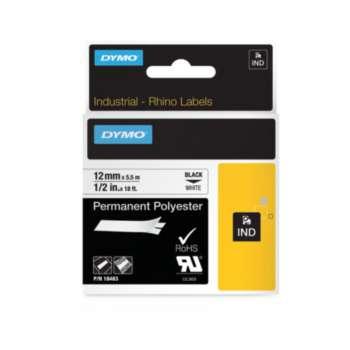 Páska Dymo Rhino - bílá, šířka 12 mm, návin 5,5 m, černé písmo (polyesterová)