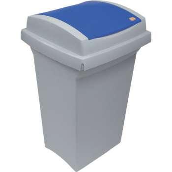 Odpadkový koš na třídění odpadu - plastový, s modrým víkem, 50 l