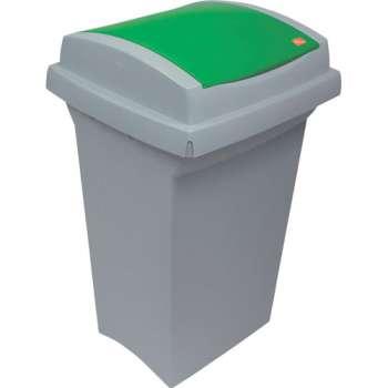 Odpadkový koš na třídění odpadu - plastový, se zelená m víkem, 50 l