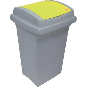 Odpadkový koš na třídění odpadu - plastový, se žlutá m víkem, 50 l