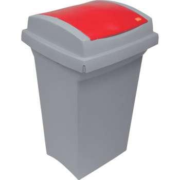 Odpadkový koš na třídění odpadu - plastový, s červená m víkem, 50 l