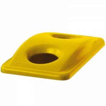 Víko SJ na tříděný odpad kulatý otvor, žluté
