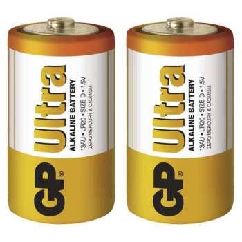 Baterie GP Ultra Alkaline 1,5 V,  R20 typ D, 2 ks